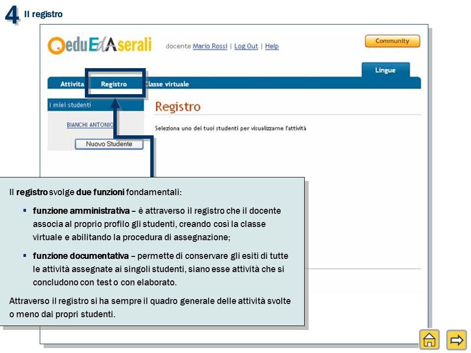 4 4 Il registro svolge due funzioni fondamentali: funzione amministrativa – è attraverso il registro che il docente associa al proprio profilo gli stu