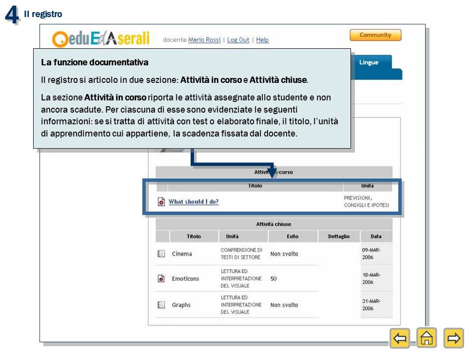 4 4 Il registro La funzione documentativa Il registro si articolo in due sezione: Attività in corso e Attività chiuse.