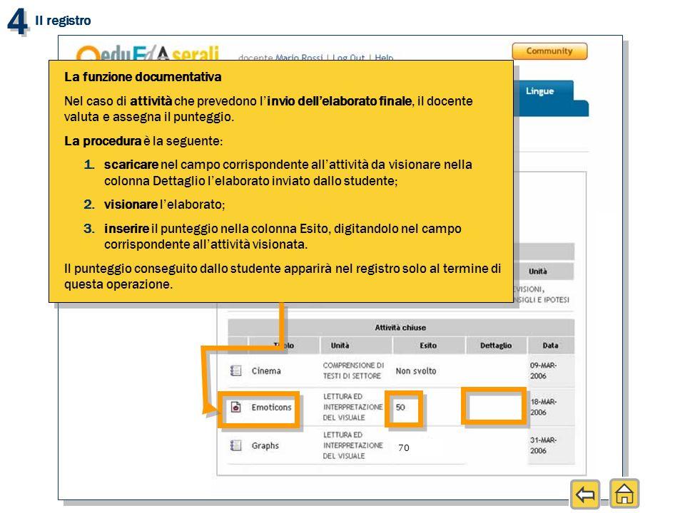 4 4 Il registro La funzione documentativa Nel caso di attività che prevedono linvio dellelaborato finale, il docente valuta e assegna il punteggio. La