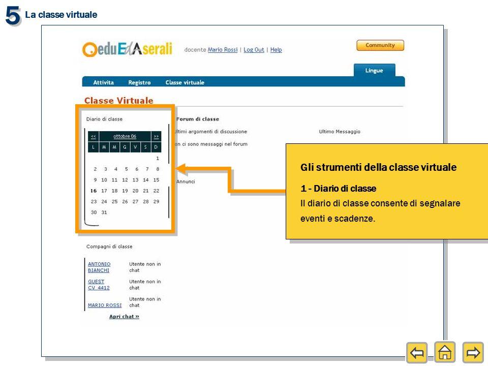 5 5 La classe virtuale Gli strumenti della classe virtuale 1 - Diario di classe Il diario di classe consente di segnalare eventi e scadenze.