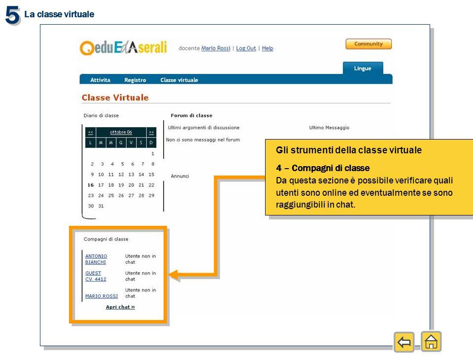 5 5 La classe virtuale Gli strumenti della classe virtuale 4 – Compagni di classe Da questa sezione è possibile verificare quali utenti sono online ed