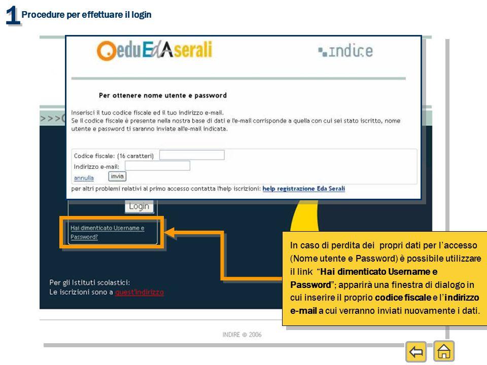 1 1 Procedure per effettuare il login In caso di perdita dei propri dati per laccesso (Nome utente e Password) è possibile utilizzare il link Hai dime