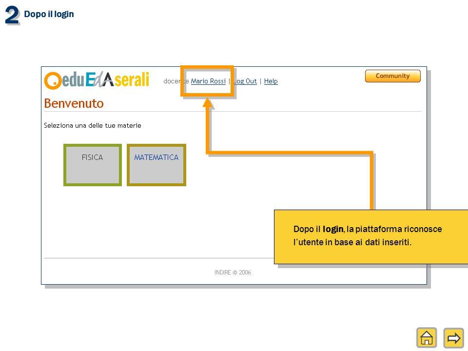 2 2 Dopo il login, la piattaforma riconosce lutente in base ai dati inseriti.