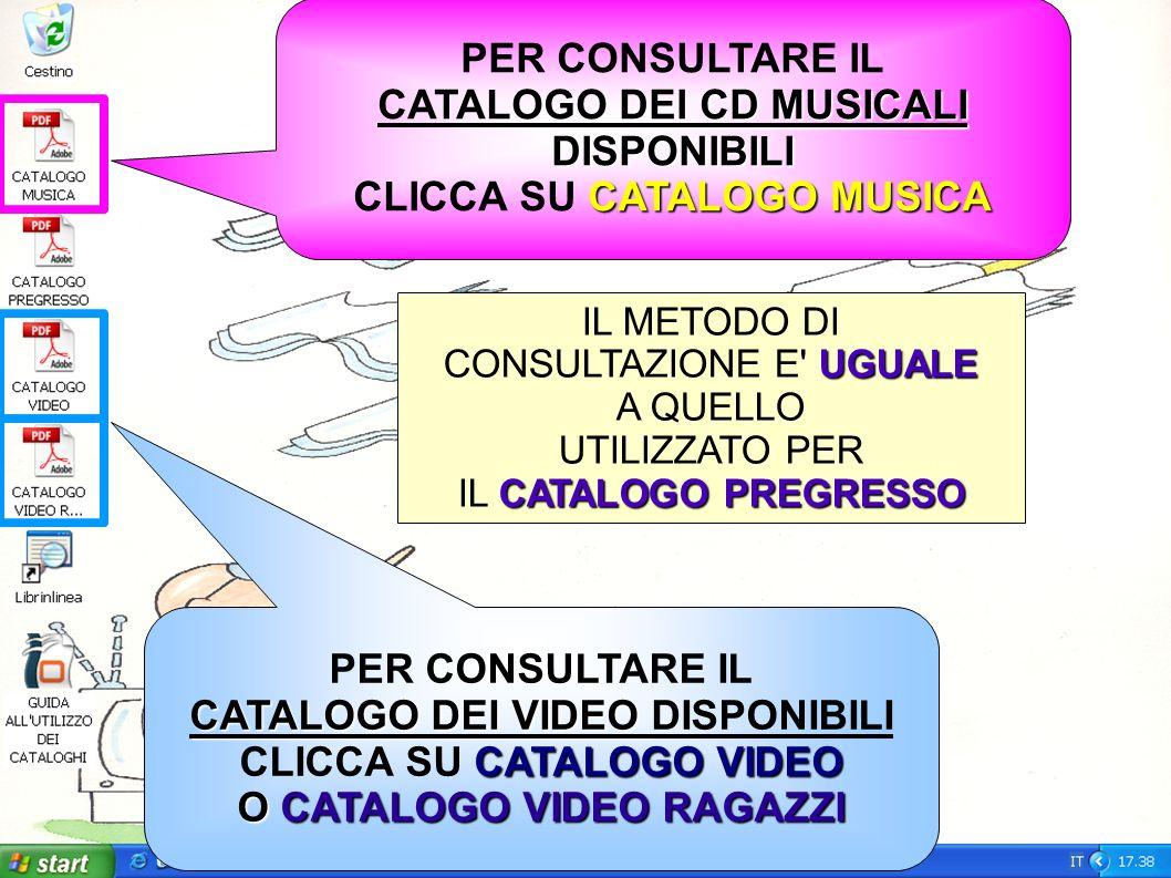 PER CONSULTARE IL CATALOGO DEI VIDEO CATALOGO DEI VIDEO DISPONIBILI CATALOGO VIDEO CLICCA SU CATALOGO VIDEO O CATALOGO VIDEO RAGAZZI PER CONSULTARE IL CD MUSICALI CATALOGO DEI CD MUSICALIDISPONIBILI CATALOGO MUSICA CLICCA SU CATALOGO MUSICA IL METODO DI UGUALE CONSULTAZIONE E UGUALE A QUELLO UTILIZZATO PER CATALOGO PREGRESSO IL CATALOGO PREGRESSO
