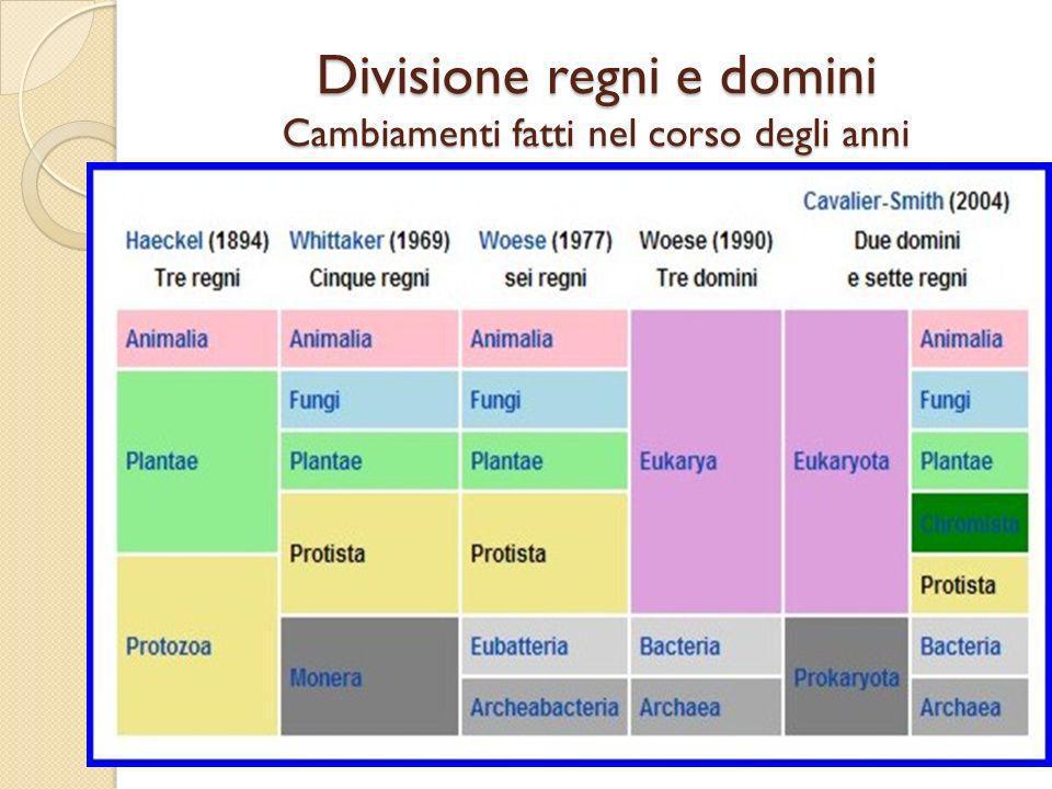 Divisione regni e domini Cambiamenti fatti nel corso degli anni
