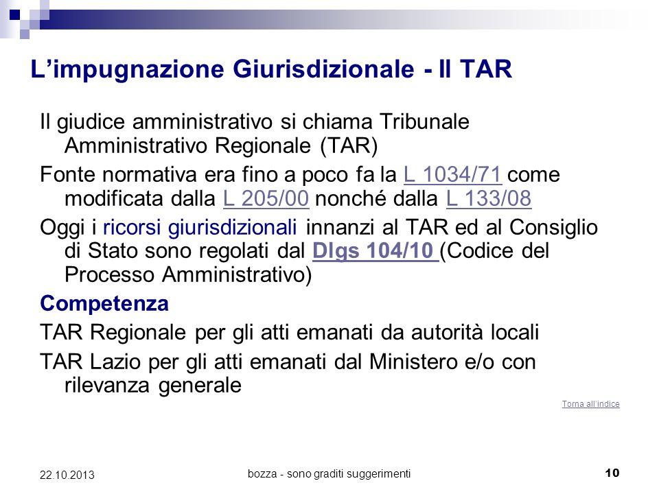 bozza - sono graditi suggerimenti10 22.10.2013 Limpugnazione Giurisdizionale - Il TAR Il giudice amministrativo si chiama Tribunale Amministrativo Reg