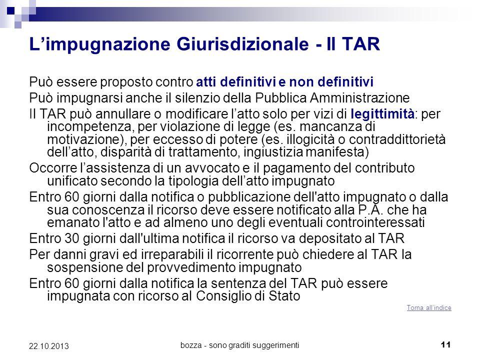 bozza - sono graditi suggerimenti11 22.10.2013 Limpugnazione Giurisdizionale - Il TAR Può essere proposto contro atti definitivi e non definitivi Può