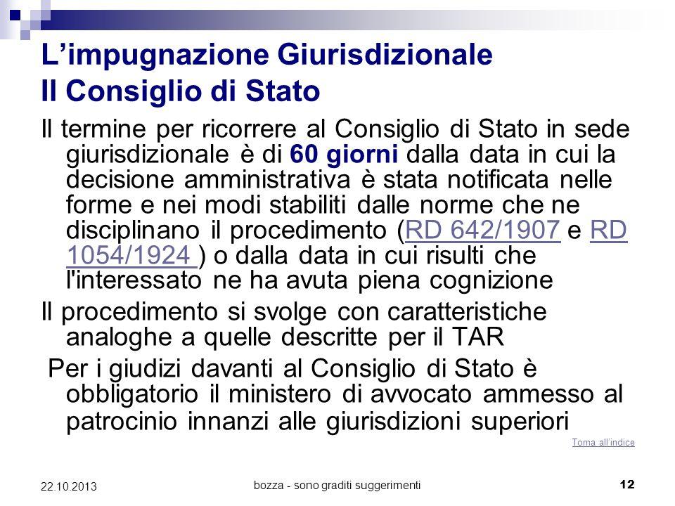 bozza - sono graditi suggerimenti12 22.10.2013 Limpugnazione Giurisdizionale Il Consiglio di Stato Il termine per ricorrere al Consiglio di Stato in s