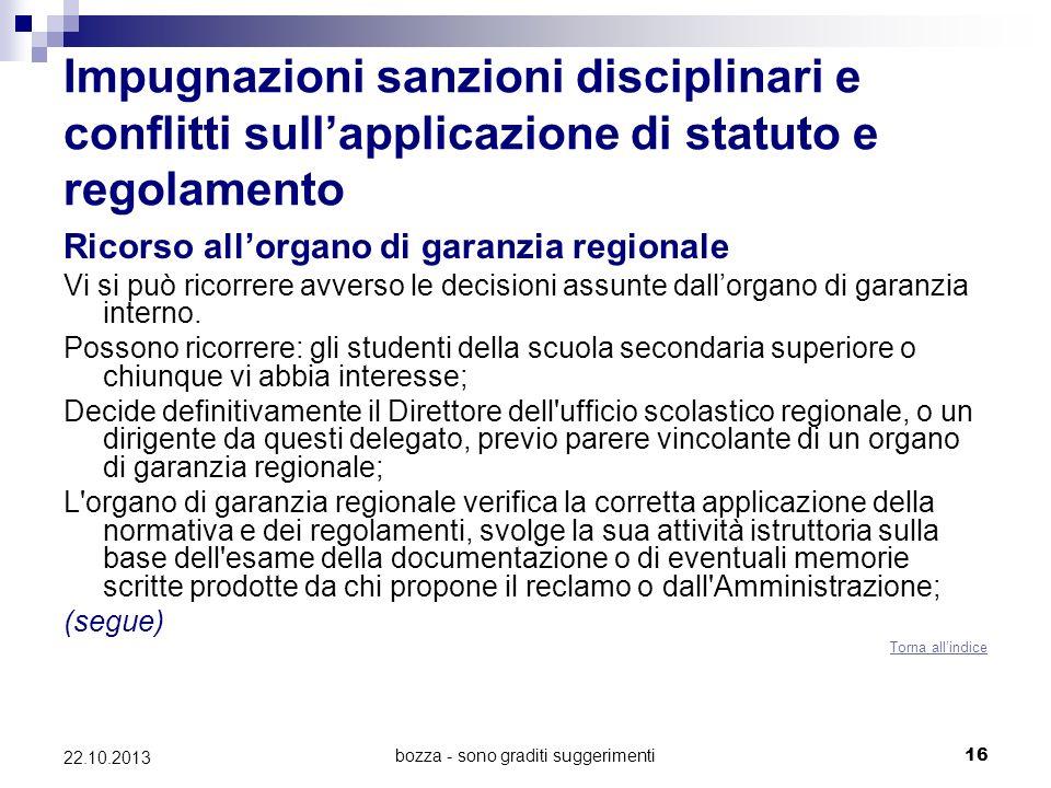 bozza - sono graditi suggerimenti16 22.10.2013 Impugnazioni sanzioni disciplinari e conflitti sullapplicazione di statuto e regolamento Ricorso allorg