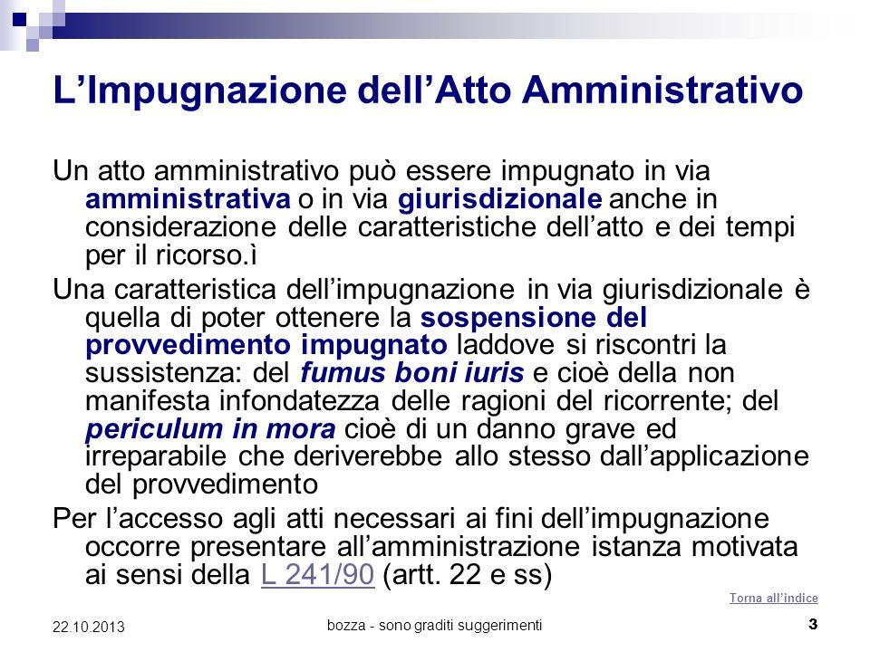 bozza - sono graditi suggerimenti3 22.10.2013 LImpugnazione dellAtto Amministrativo Un atto amministrativo può essere impugnato in via amministrativa