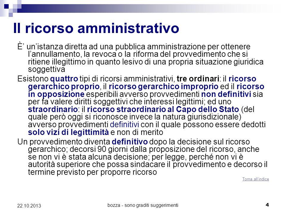 bozza - sono graditi suggerimenti4 22.10.2013 Il ricorso amministrativo È unistanza diretta ad una pubblica amministrazione per ottenere lannullamento