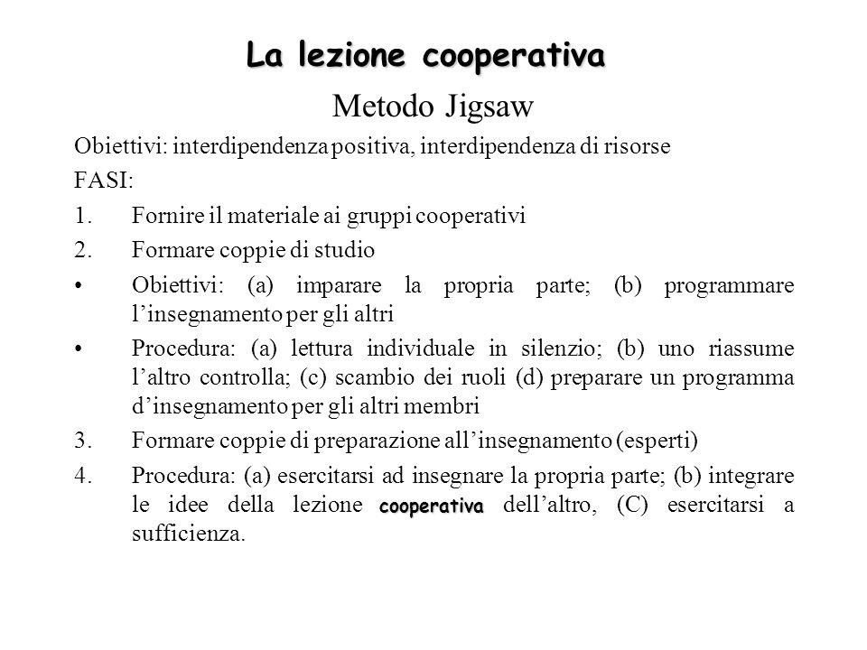 La lezione cooperativa Metodo Jigsaw Obiettivi: interdipendenza positiva, interdipendenza di risorse FASI: 1.Fornire il materiale ai gruppi cooperativ
