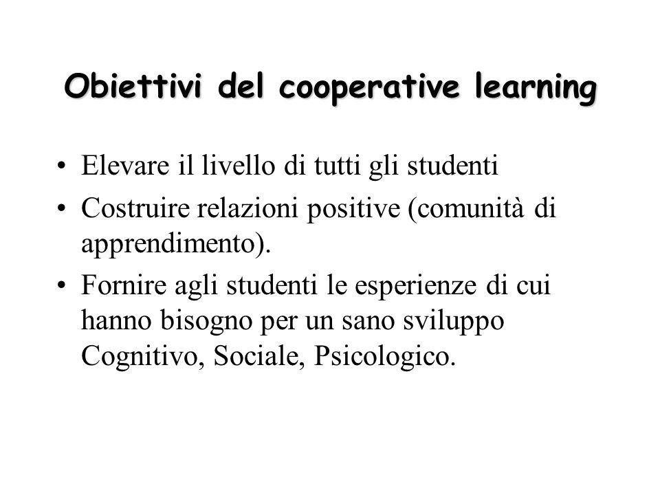 Obiettivi del cooperative learning Elevare il livello di tutti gli studenti Costruire relazioni positive (comunità di apprendimento). Fornire agli stu