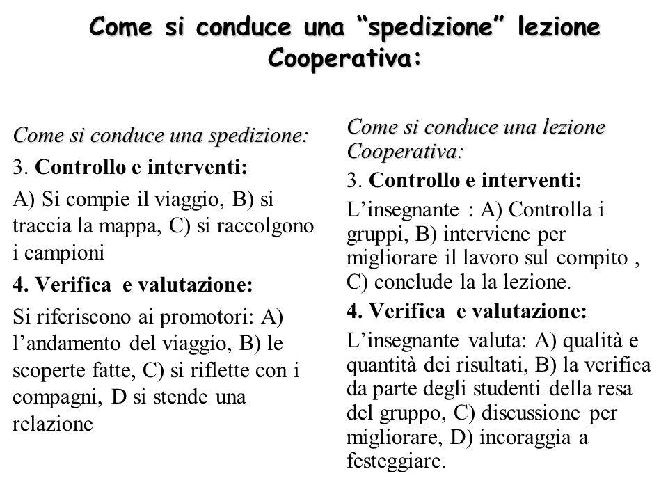 La lezione cooperativa Metodo Jigsaw Obiettivi: interdipendenza positiva, interdipendenza di risorse FASI: 1.Fornire il materiale ai gruppi cooperativi 2.Formare coppie di studio Obiettivi: (a) imparare la propria parte; (b) programmare linsegnamento per gli altri Procedura: (a) lettura individuale in silenzio; (b) uno riassume laltro controlla; (c) scambio dei ruoli (d) preparare un programma dinsegnamento per gli altri membri 3.Formare coppie di preparazione allinsegnamento (esperti) cooperativa 4.Procedura: (a) esercitarsi ad insegnare la propria parte; (b) integrare le idee della lezione cooperativa dellaltro, (C) esercitarsi a sufficienza.