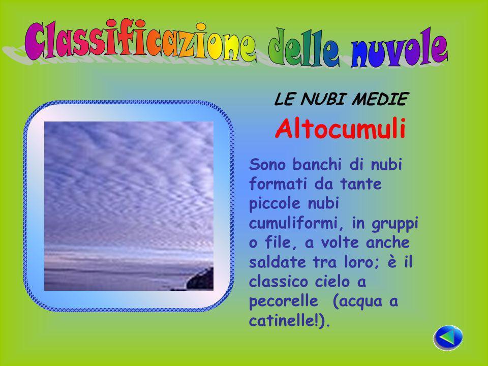 LE NUBI MEDIE Altocumuli Sono banchi di nubi formati da tante piccole nubi cumuliformi, in gruppi o file, a volte anche saldate tra loro; è il classico cielo a pecorelle (acqua a catinelle!).