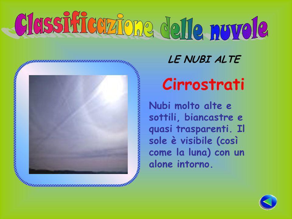 LE NUBI ALTE Cirrostrati Nubi molto alte e sottili, biancastre e quasi trasparenti.