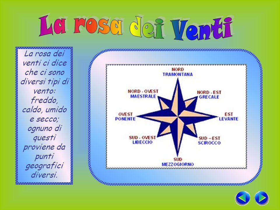 La rosa dei venti ci dice che ci sono diversi tipi di vento: freddo, caldo, umido e secco; ognuno di questi proviene da punti geografici diversi.