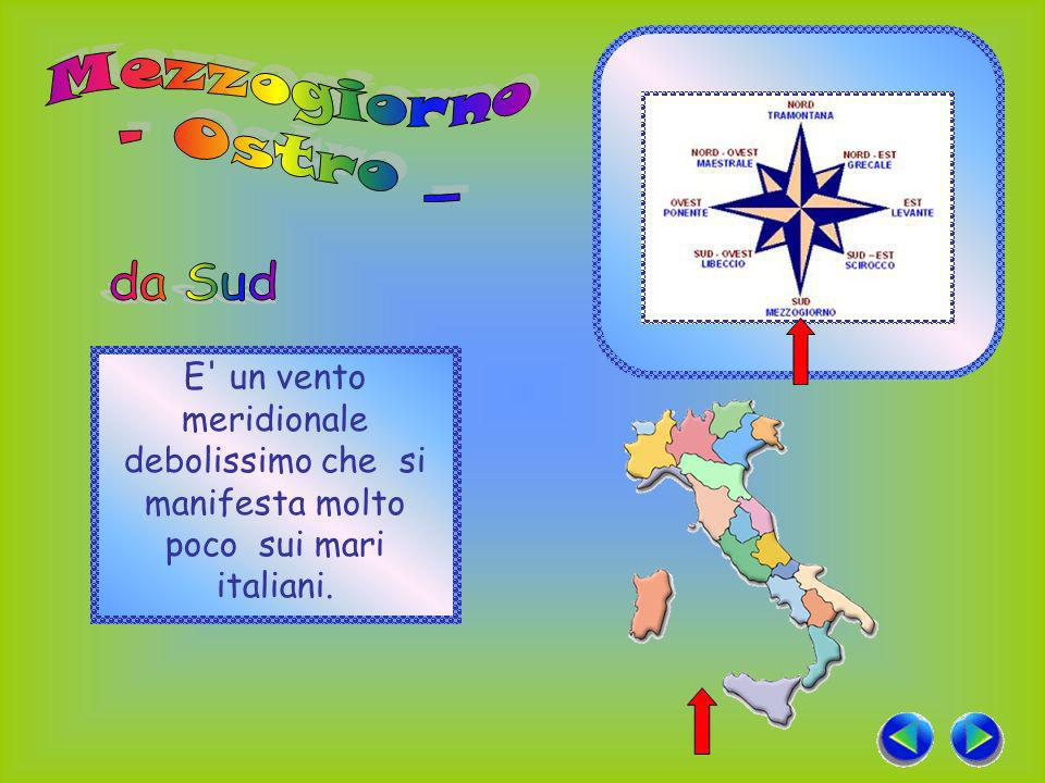 E un vento meridionale debolissimo che si manifesta molto poco sui mari italiani.