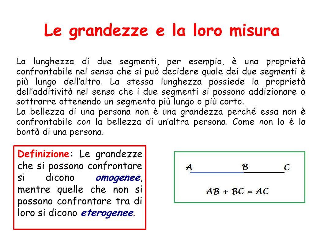 Le grandezze e la loro misura La lunghezza di due segmenti, per esempio, è una proprietà confrontabile nel senso che si può decidere quale dei due seg