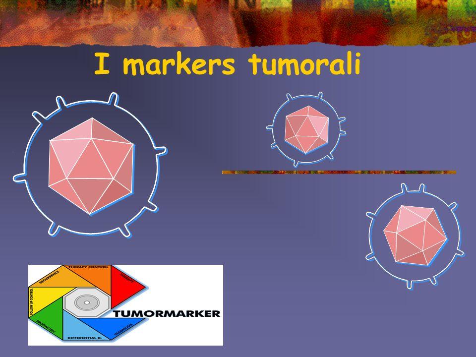 Dosaggio dei markers tumorali Metodi immunometrici: utilizzano anticorpi che riconoscono in modo specifico un dato marcatore (anticorpi monoclonali) attraverso un tracciante (radioisotopo, enzimi, sostanze fluorescenti o chemio luminescenti) che vi è legato.