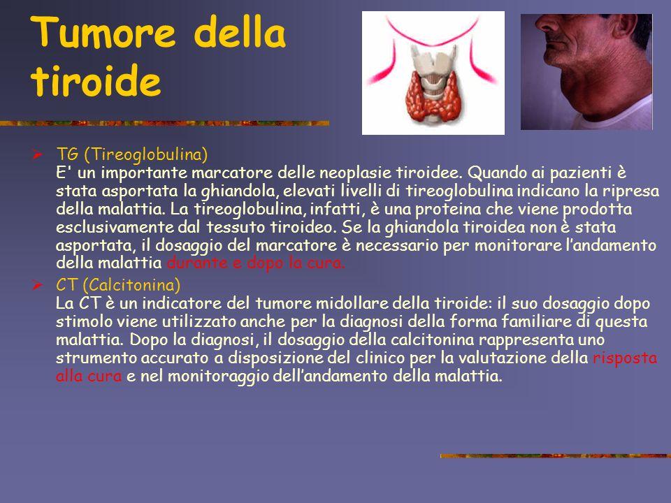 Tumore della tiroide TG (Tireoglobulina) E' un importante marcatore delle neoplasie tiroidee. Quando ai pazienti è stata asportata la ghiandola, eleva