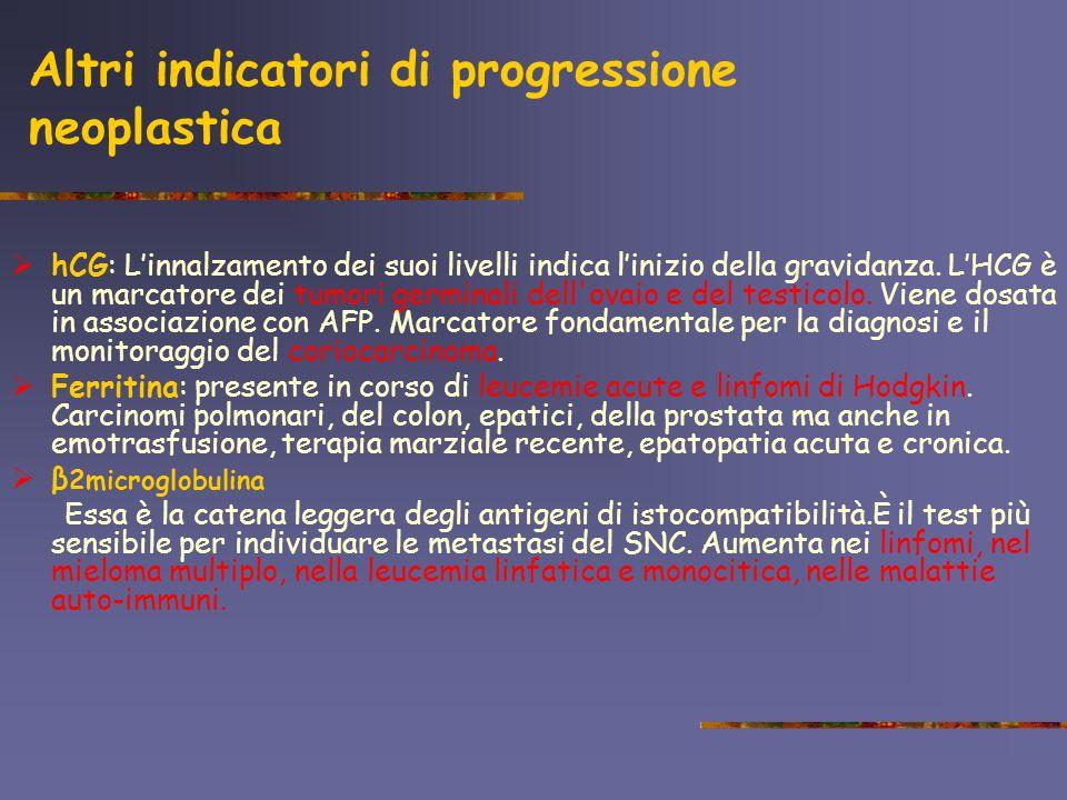 Altri indicatori di progressione neoplastica hCG: Linnalzamento dei suoi livelli indica linizio della gravidanza. LHCG è un marcatore dei tumori germi