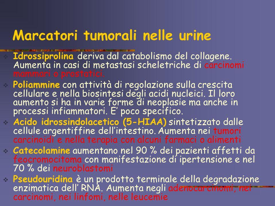Marcatori tumorali nelle urine Idrossiprolina deriva dal catabolismo del collagene. Aumenta in casi di metastasi scheletriche di carcinomi mammari o p