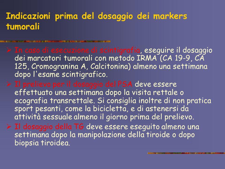 Indicazioni prima del dosaggio dei markers tumorali In caso di esecuzione di scintigrafia, eseguire il dosaggio dei marcatori tumorali con metodo IRMA