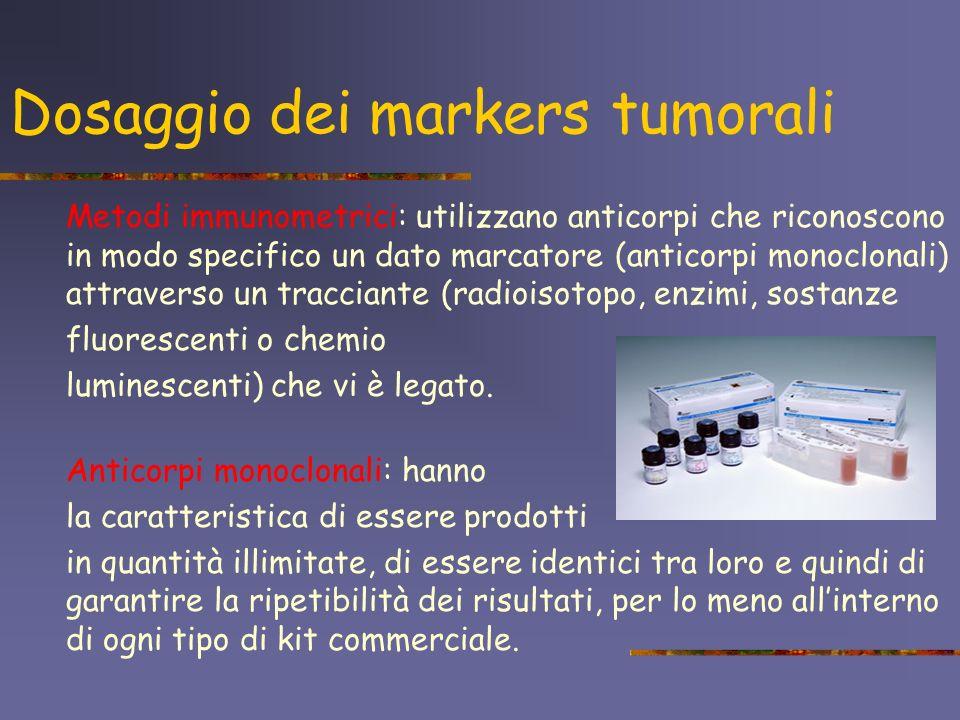 Dosaggio dei markers tumorali Metodi immunometrici: utilizzano anticorpi che riconoscono in modo specifico un dato marcatore (anticorpi monoclonali) a