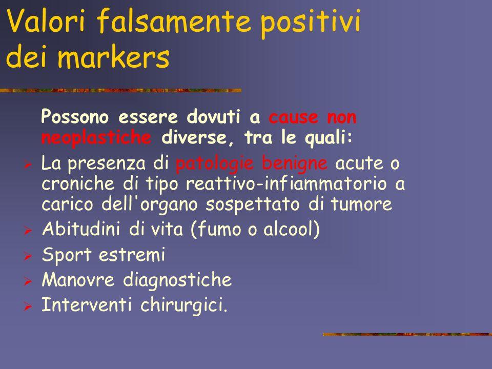 Valori falsamente negativi dei markers Possono essere dovuti a: un tumore molto piccolo un tumore molto grosso, ma poco vascolarizzato prevalenza nel tumore di cellule che non rilasciano il marcatore.