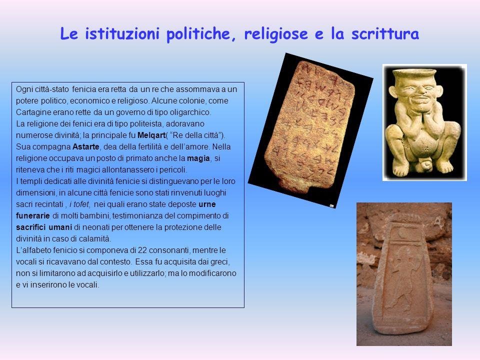 Le istituzioni politiche, religiose e la scrittura Ogni città-stato fenicia era retta da un re che assommava a un potere politico, economico e religio