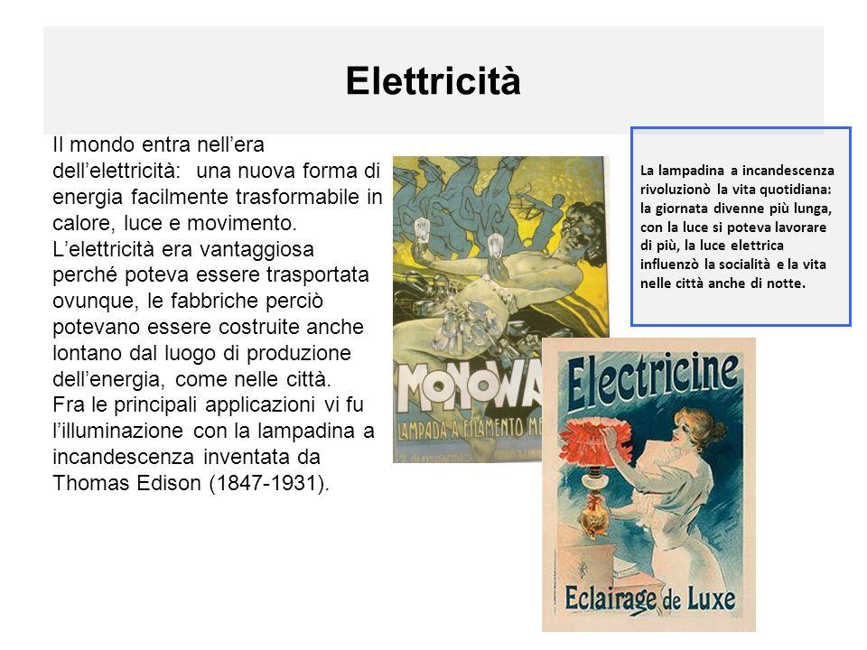 Elettricità Il mondo entra nellera dellelettricità: una nuova forma di energia facilmente trasformabile in calore, luce e movimento.