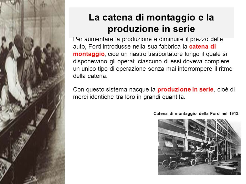 La catena di montaggio e la produzione in serie Catena di montaggio della Ford nel 1913.