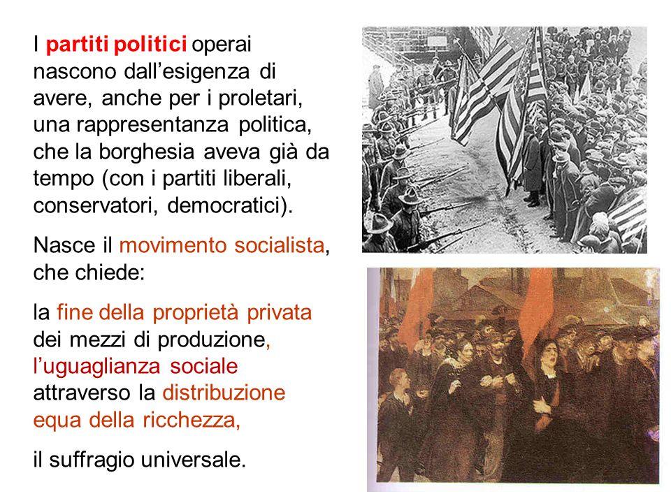 I partiti politici operai nascono dallesigenza di avere, anche per i proletari, una rappresentanza politica, che la borghesia aveva già da tempo (con i partiti liberali, conservatori, democratici).