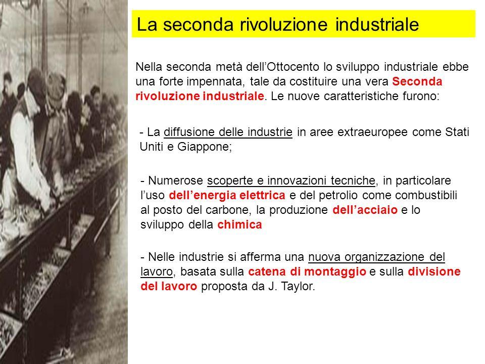 La seconda rivoluzione industriale Nella seconda metà dellOttocento lo sviluppo industriale ebbe una forte impennata, tale da costituire una vera Seconda rivoluzione industriale.
