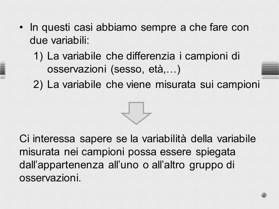 In questi casi abbiamo sempre a che fare con due variabili: 1)La variabile che differenzia i campioni di osservazioni (sesso, età,…) 2)La variabile ch