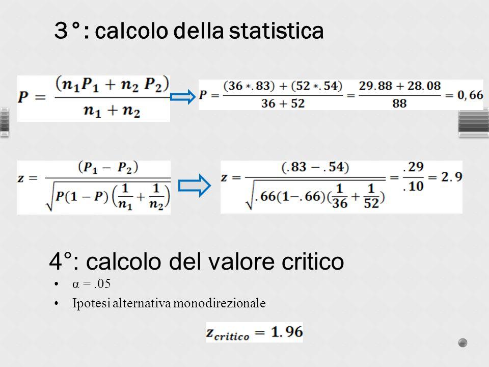 α =.05 Ipotesi alternativa monodirezionale 3°: calcolo della statistica 4°: calcolo del valore critico