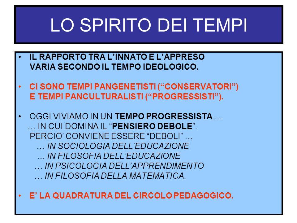 LO SPIRITO DEI TEMPI IL RAPPORTO TRA LINNATO E LAPPRESO VARIA SECONDO IL TEMPO IDEOLOGICO. CI SONO TEMPI PANGENETISTI (CONSERVATORI) E TEMPI PANCULTUR