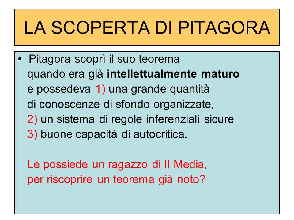 LA SCOPERTA DI PITAGORA Pitagora scoprì il suo teorema quando era già intellettualmente maturo e possedeva 1) una grande quantità di conoscenze di sfo
