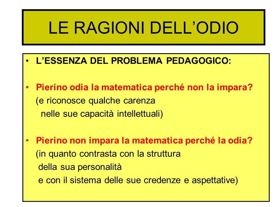 LE RAGIONI DELLODIO LESSENZA DEL PROBLEMA PEDAGOGICO: Pierino odia la matematica perché non la impara? (e riconosce qualche carenza nelle sue capacità