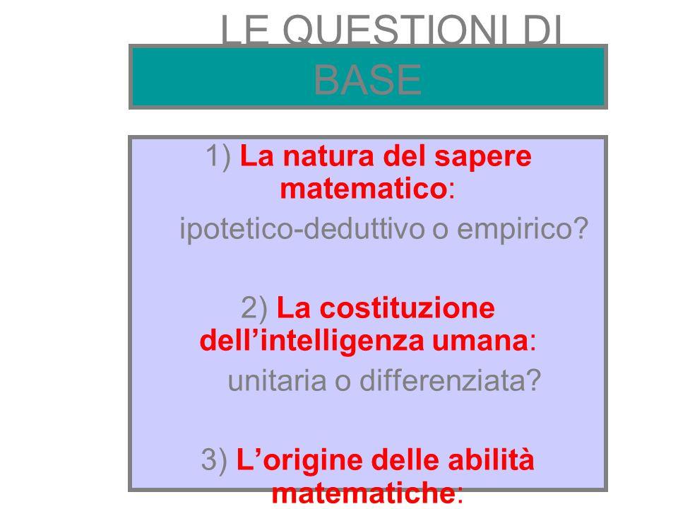 LE QUESTIONI DI BASE 1) La natura del sapere matematico: ipotetico-deduttivo o empirico? 2) La costituzione dellintelligenza umana: unitaria o differe