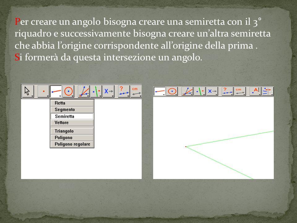 Per creare un angolo bisogna creare una semiretta con il 3° riquadro e successivamente bisogna creare unaltra semiretta che abbia lorigine corrispondente allorigine della prima.