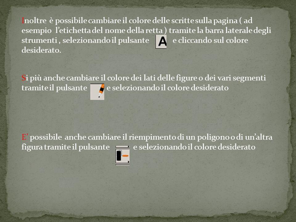 Inoltre è possibile cambiare il colore delle scritte sulla pagina ( ad esempio letichetta del nome della retta ) tramite la barra laterale degli strumenti, selezionando il pulsante e cliccando sul colore desiderato.