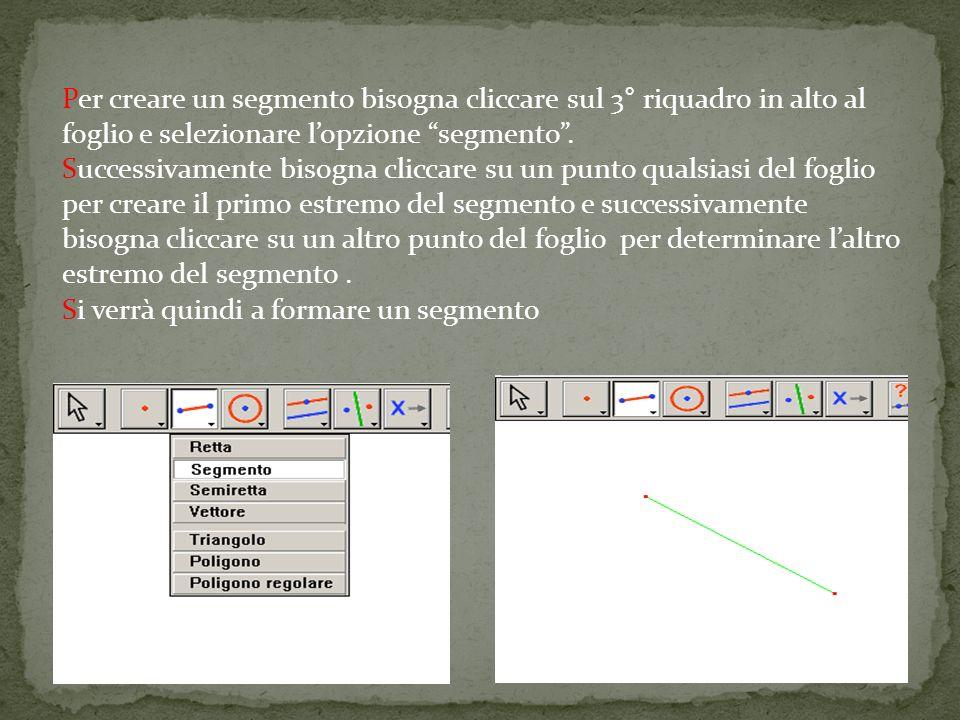Per creare un segmento bisogna cliccare sul 3° riquadro in alto al foglio e selezionare lopzione segmento. Successivamente bisogna cliccare su un punt