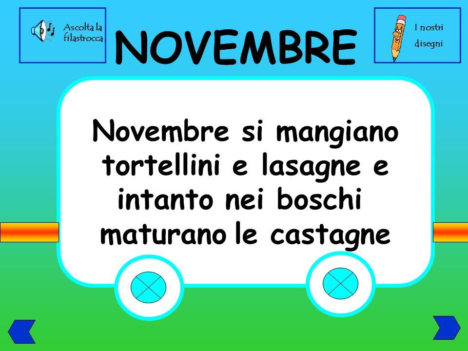 Novembre si mangiano tortellini e lasagne e intanto nei boschi maturano le castagne NOVEMBRE I nostri disegni Ascolta la filastrocca