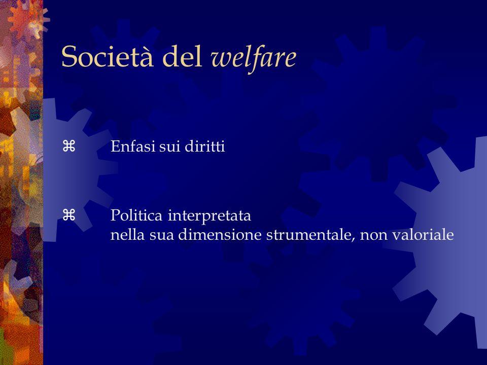 Società del welfare Politica interpretata nella sua dimensione strumentale, non valoriale Enfasi sui diritti
