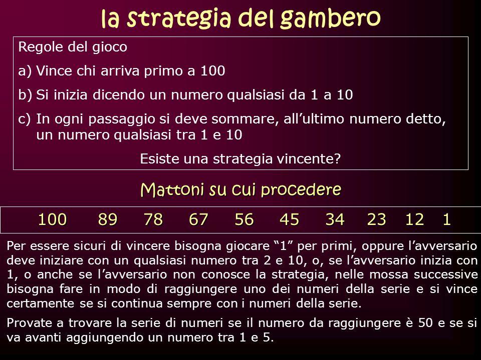 Regole del gioco a)Vince chi arriva primo a 100 b)Si inizia dicendo un numero qualsiasi da 1 a 10 c)In ogni passaggio si deve sommare, allultimo numer
