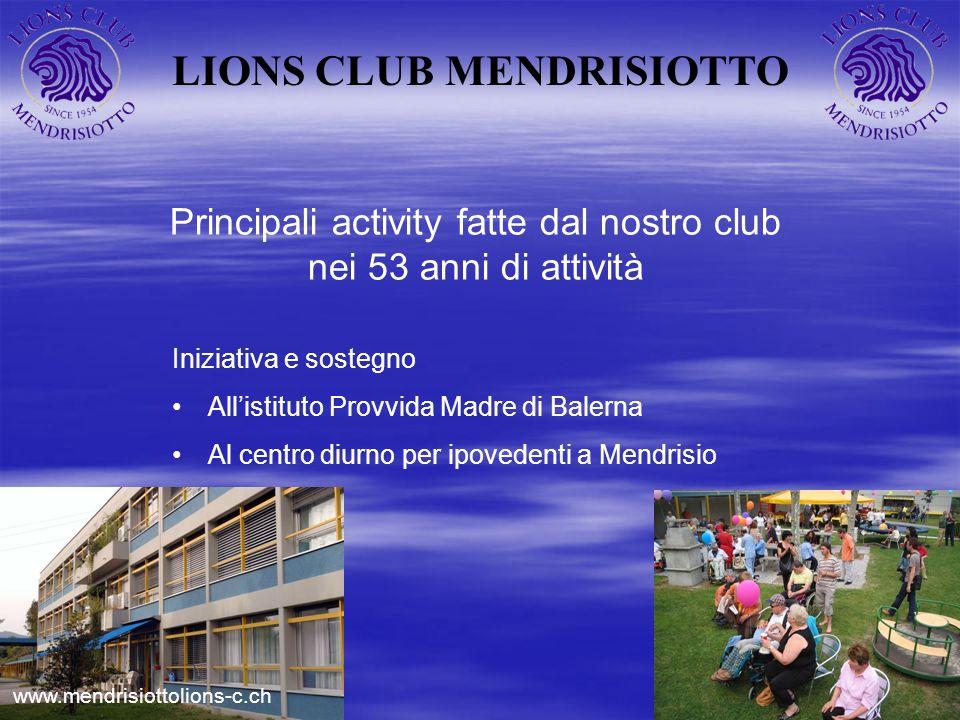 LIONS CLUB MENDRISIOTTO Principali activity fatte dal nostro club nei 53 anni di attività Iniziativa e sostegno Allistituto Provvida Madre di Balerna