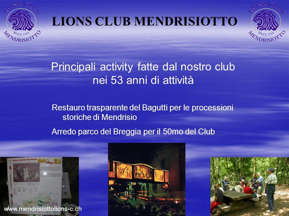 LIONS CLUB MENDRISIOTTO Principali activity fatte dal nostro club nei 53 anni di attività Restauro trasparente del Bagutti per le processioni storiche