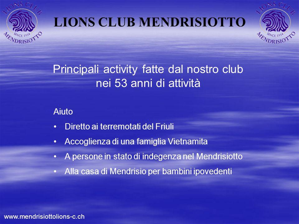 LIONS CLUB MENDRISIOTTO Principali activity fatte dal nostro club nei 53 anni di attività Aiuto Diretto ai terremotati del Friuli Accoglienza di una f